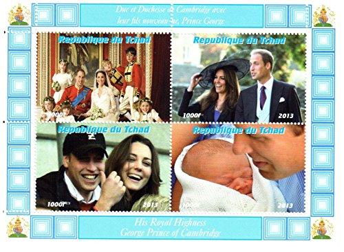 Königliches Baby Briefmarken für Briefmarkensammeln - The Royal Baby-Prince George, Kate Middleton, Prinz William, Prinz Charles und Prinzessin Diana Mini Sondermarken - 4 postfrische Briefmarken auf einer postBriefMarkenBogens - lose (Charles Diana Prinz)