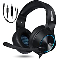 NUBWO Gaming Headset, PS4 Xbox One Headset, Stereo PC Headset Noise Cancelling Gaming Headphone with Mic, Comfort Memory Earmuffs, Volume Control for Xbox 1 Playstation 4 Controller Laptop (Blue)