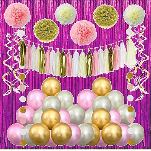 Pink Gold Party Dekoration Luftballons Papier Blumen Girlande zum Aufhängen Swirl für 1. Geburtstag Girl Decor Kids Baby Dusche (Baby Girl 1. Geburtstag Dekor)