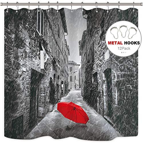 ang für die Dusche Rot Regenschirm Kostenlose Metall Haken Baumwollmusselin Toskana Italien Rainy Winter Decor Stoff Badezimmer Set Polyester 182,9x 182,9cm Wasserdicht ()