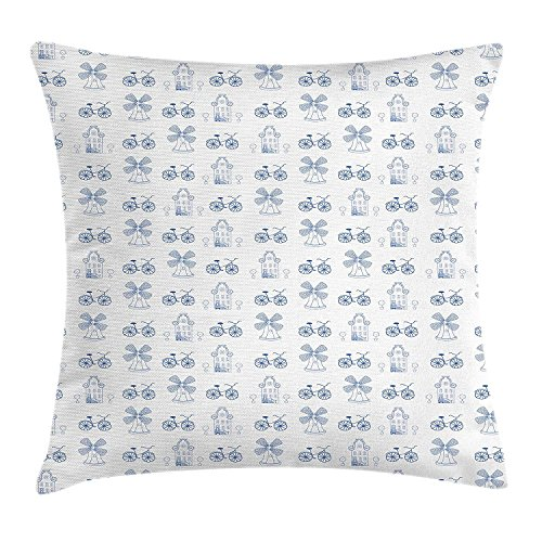 Icndpshorts Bicycle Throw Pillow Cushion Cover, Dutch Ornament Drawings in Blue Windmill Narrow House Bicycle Topiary Tree, Decorative Square Accent Pillow Case, 18 X 18 inches, White Night Blue -