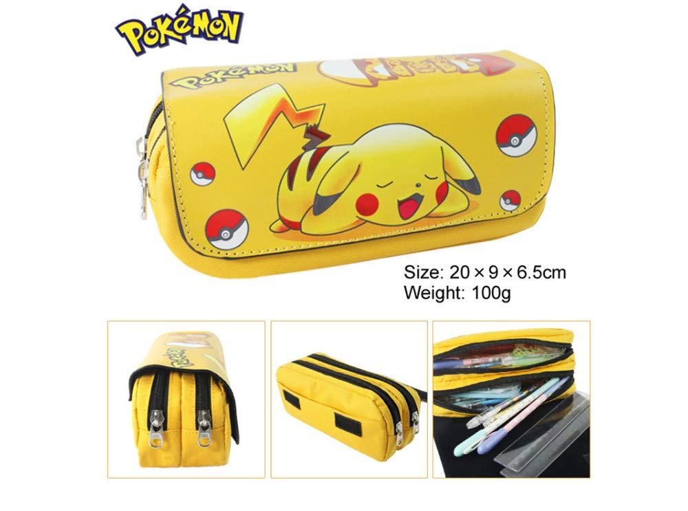 Pokemon Pikachu Estuche de lápices Anime Gran capacidad Doble cremallera Lápiz Bolsa Cartera Bolsa de papelería (Colour…