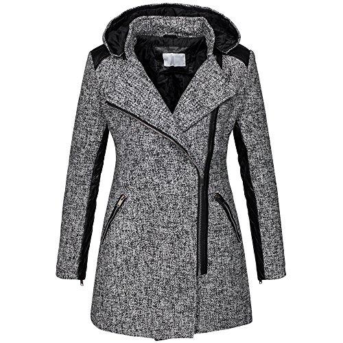 Parka invernale da donna cappotto in lana maltinto woll giacca similpelle B272 grigio chiaro 42