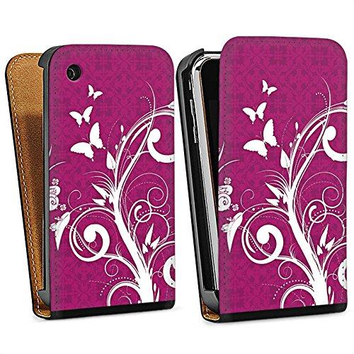 Apple iPhone 4 Housse Étui Silicone Coque Protection Rose vif Papillons Fleurs Sac Downflip noir
