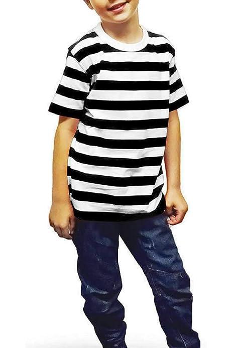 New Children/'s Kids Boys Girls Blue White Striped T-Shirt Casual Summer Top