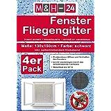 4er Set Fliegengitter-Fenster 130x150 cm in schwarz mit Klettband Moskitonetz Insektenschutz, individuell kürzbares Fliegennetz, witterungsbeständig
