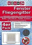 4er Set Fliegengitter-Fenster 130x150 cm in schwarz mit Klettband Moskitonetz Insektenschutz,...