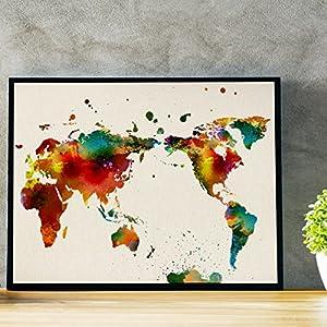Lámina para enmarcar MAPAMUNDI. MAPA DEL MUNDO. Poster con imágenes del mundo de estilo acuarela. Lámina mapas. Decoración de hogar. Láminas tamaño 30×40 para enmarcar. Papel 250 gramos alta calidad