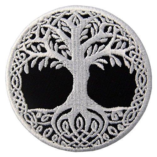 (ZEGIN Aufnäher, Bestickt, Design: Yggdrasil, Baum des Lebens in Skandinaviern, Zum Aufbügeln Oder Aufnähen)