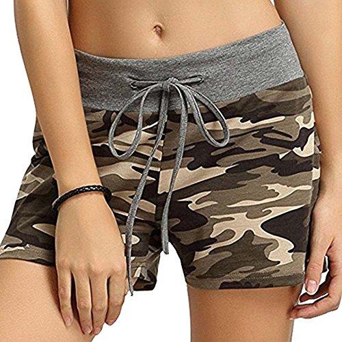 Mitte Taille Shorts Camouflage Shorts Elastische Taille Baumwolle Overalls Lässige Sport Fitness Shorts (90 Kostüme Zum Verkauf)