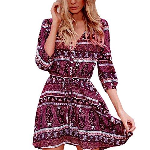 Bekleidung Longra Damen Frühjahr Sommer Kleider Floral Print halbe Ärmel Boho Langarm Kleid Damen Abendkleid Party Strandkleider (Asian XL(Bust:104cm/41.0), (Vintage Print Kostüme)