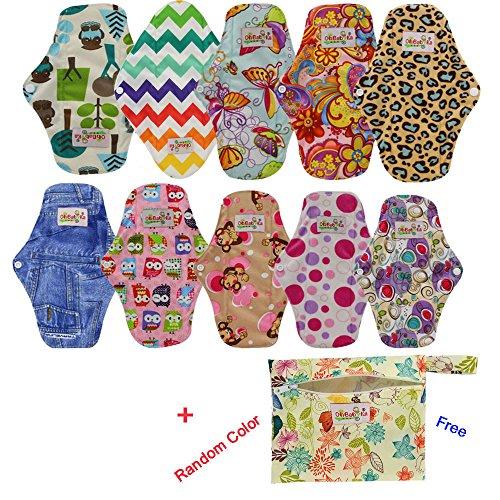 OHBABYKA Bambus wiederverwendbare Damenbinden Pads / Tuch Menstruation Pads für Frauen, eine Mini-Tasche, (S, 10Pcs-bunt) -