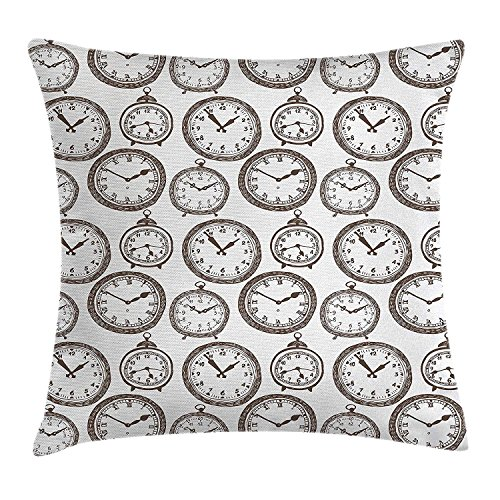 Clock Decor Throw Pillow Cushion Cover, Vintage Pocket Watch with Numbers on It Design Chronometers Decorations for Home, Decorative Square Accent Pillow Case, 18 X 18 Inches, Brown (Glee Watch)