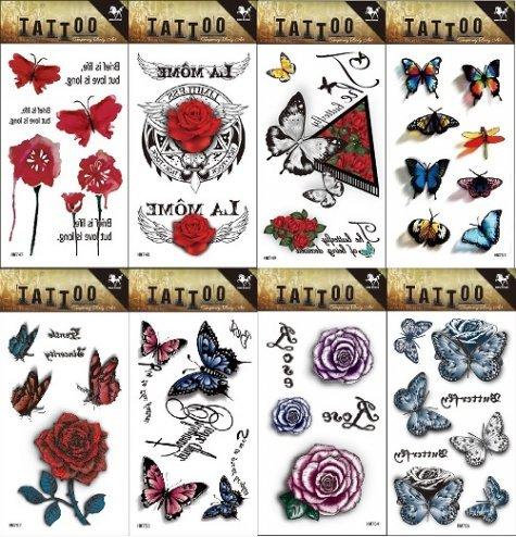 Grashine 8pcs different lungo e realistico in 1pacchetto, tatuaggi temporanei, tra cui rose, farfalle, fiori tatuaggio adesivo