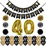 kit decorazione festa di compleanno, Konsait 40 anni di compleanno Striscione, Pon Pon, numero 40 Grande Palloncini Foil e oro nero Palloncini in Lattice per donna uomo 40 compleanno decorazione