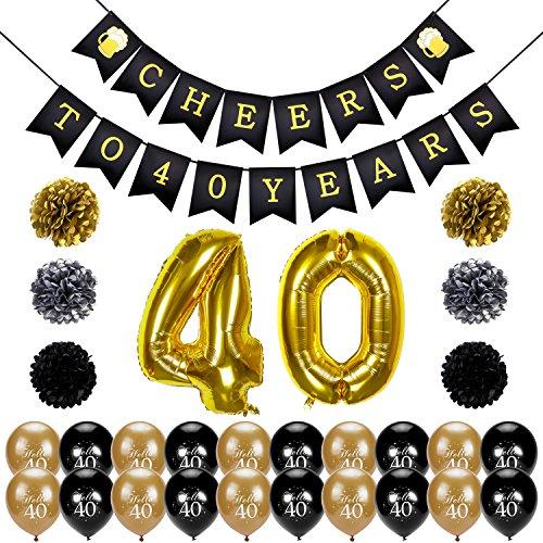 Konsait Cheers zum 40. Geburtstag Girlande, Große 40 Jahre Folienballons, Papierblumen, Pom Poms, 20Stk schwarz und Gold Latex Luftballons Dekoration für 40 Geburtstagsfeier (1 Jahr Alt Geburtstag Ideen)