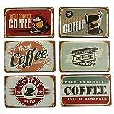 Tolle Kühlschrank-Magnete im 6er Set Cafe Kaffee Vintage Retro Pinnwand-Magnet Holz Magnet-Set 8,5 x 5,5 cm. Magnete für Kühlschrank, Pinnwand oder Whiteboard