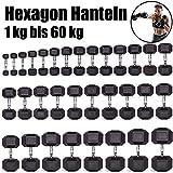 C.P. Sports Hexagon Kurzhantel Gummi 1-60 kg - mit Beschichtung und ergonomischen Chrom-Griff, Kurzhantel, Kurzhantel-Set, Dumbbel, rutschsicher (8kg-Paar)
