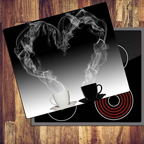 decorwelt | Ceranfeldabdeckung 60x52 cm Herdabdeckplatten 1 Teilig Elektroherd Induktion Herdschutz Deko Glasplatte Schneidebrett Sicherheitsglas Spritzschutz Glas Kaffee