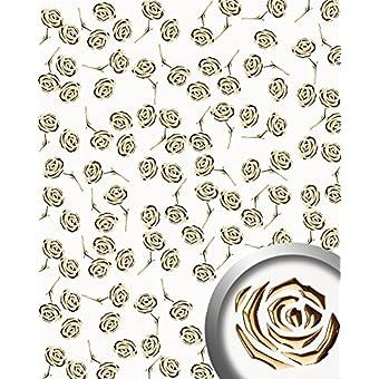 Revestimiento mural autoadhesivo diseño WallFace 16444 3D ROSE rosas perforadas con hoja base blanco perlado oro 2,6 m2