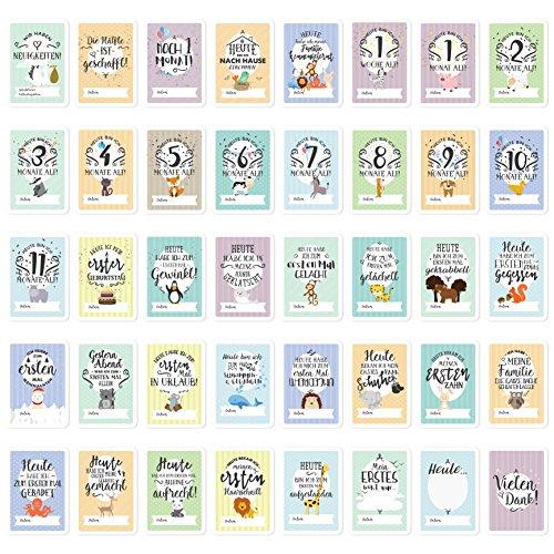 Baby Milestone Cards DEUTSCH - Meilenstein karten - 40 unisex Fotokarten - Geschenkset – Babyparty - Erstes Lebensjahr - 3