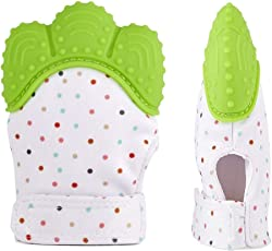 Baby Station Teething Mitten for Infants, Baby Boys & Girls, Silicone Teething Mitt Teether Gloves BPA Free, Teething Toys, Ideal Baby Shower Gift (1 Piece) (Green)