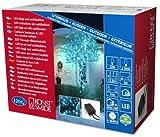 Konstsmide 3631-440 Micro LED Lichterkette/für Außen (IP44) / 24V Außentrafo/mit 8 Funktionen, Steuergerät und Memoryfunktion /120 hellblaue Dioden/schwarzes Kabel