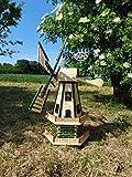 Große windmühle, Gartenwindmühle 130 cm, zweistöckig MIT 2 BALKONEN, Gartendeko Windmühlen für Teich und Garten, Windfahne / Windrad o. SOLAR o. Beleuchtung Laterne Wegeleuchten WMH130gr-OS 1,30m groß grün moosgrün grasgrün Naturholz