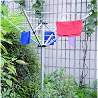 4 Arm Multi Hanger 1.5m high rotary cloth laundry washing line airer dryer rack stand with ground spike plastic socket by Janoon®