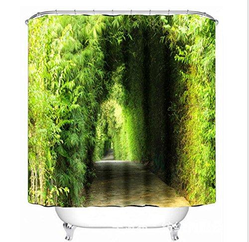 KKLL Duschvorhang 3D Grüner Bambuswald Druck Polyester Gewebe Wasserdicht und Schimmel Schuss Vorhänge , 165*180cm -