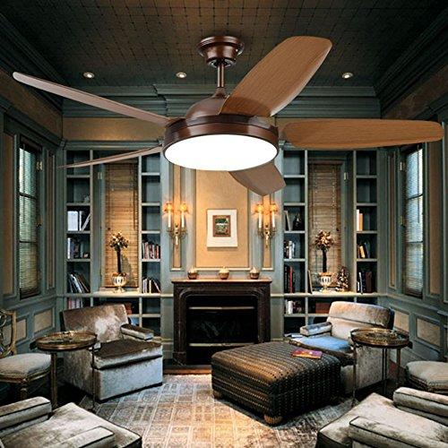 Xxw ventilatore a soffitto a led, luci ventilatore ristorante retro in legno foglia soggiorno con luci ventilatore a soffitto in legno lama completa e telecomando lampadario in legno