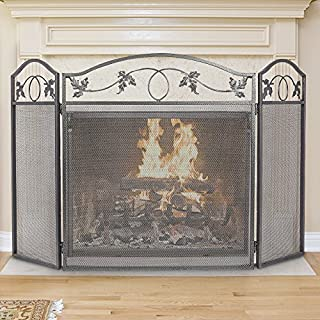 3 Panel Fireplace Screen Outdoor Large Pewter Wrought Iron Metal Fire Place Screen Decorative Baby Safe Proof Mesh Cover Accessories Leaf Design Safety Gate Fence Doors by Hearth 30inch