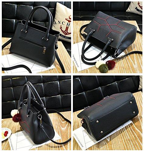 Handtaschen für Lady Umhängetasche PU Leder Tasche Süß Modisch Hochschule Stil Neue Schultertasche Messenger Bag Dunkel Grau Schwarz