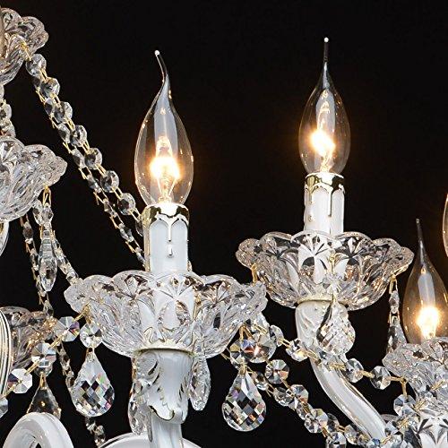 Kronleuchter klassisch Glas Metall weiß und goldfarbig 12-armig Ø82cm - 6
