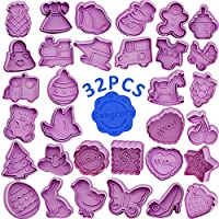 Cookie Cutter Set - WENTS 32 PCS Plastic Cookie Cutter for Children Shapes with Ejector Perfect Fondant Baking Cookies Biscuit Cutters for Kitchen Christmas Cake Decorations Accessories