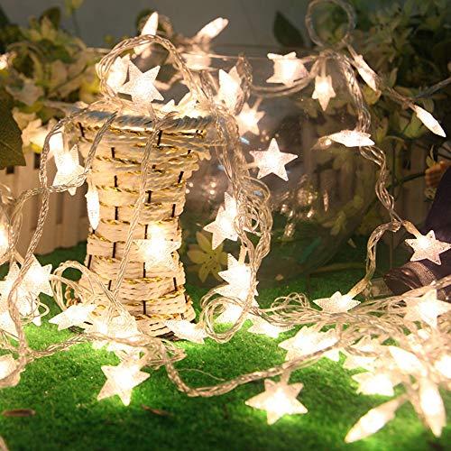 Prevently LED Lichterkette Im Freien,Weihnachtsbeleuchtung,Stern-Fee-Schnur beleuchtet Dimmable mit Fernbedienung LED-Lichterkette Wasserdicht für Innenbeleuchtung, Garten, Hochzeit, Party (Gelb)