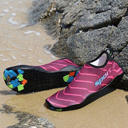 Largeshop Rutschfest Badeschuhe Camo Weich Sohle Strandschuhe Leicht Aquaschuhe Unisex Damen Herren Kinder für Schwimmen Fitness Schuhe Pink