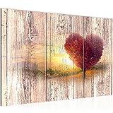 Runa Art Bilder Herbst Vintage Wandbild 120 x 80 cm Vlies - Leinwand Bild XXL Format Wandbilder Wohnzimmer Wohnung Deko Kunstdrucke Rosa 3 Teilig - Made in Germany - Fertig Zum Aufhängen 606531a