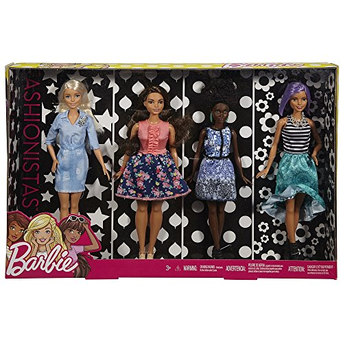 Barbie Fashionistas Super Set con 4 Muñecas -FLB34 Mattel