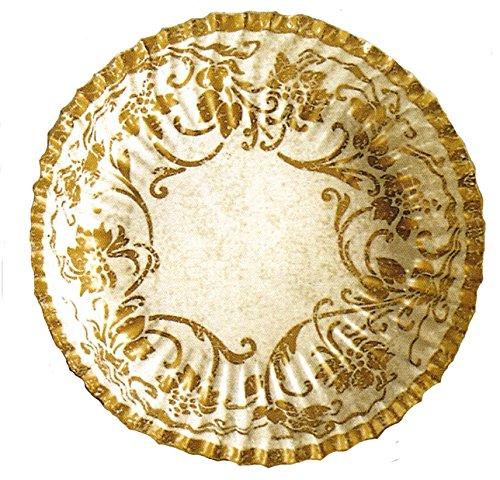 10 assiettes plates écrues décors motifs floraux or Ø 23 cm [18100002444]