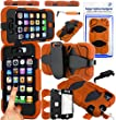 Magic Global Gadgets� - Orange Heavy Duty Ultra Tough Military Case For Apple iPhone 4 4G 4S 4th Gen 4th Generation Rugged Builders Workman School Extreme Grade Shock Proof Cover With 90� Swivel Belt Clip + Built In Screen Guard Protector + Mini Capacitive Stylus Touch Pen