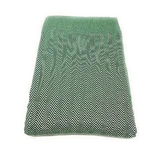Agas Own Tagesdecke ZikZak Überwurfdecke 200x230cm Türkische Decke 100% Baumwolle Tuch Stranddecke (Dunkelgrün)