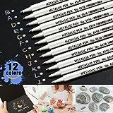 Metallic Marker Pens, Aoyooh 12 Stück Metallic Permanent Marker - Ideal für Kartenherstellung DIY Fotoalbum Gästebuch Gebrauch auf Papier Glas Kunststoff Keramik Öpferei Stein