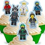 12 x Vorgeschnittene und Essbare Aufrecht Stehende Lego Ninjago Kuchen Topper (Tortenaufleger, Bedruckte Oblaten, Oblatenaufleger)