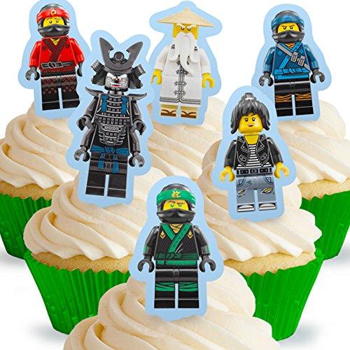 12 x Vorgeschnittene und Essbare Aufrecht Stehende Lego Ninjago Kuchen Topper (Tortenaufleger, Bedruckte Oblaten, Oblatenaufleger) -