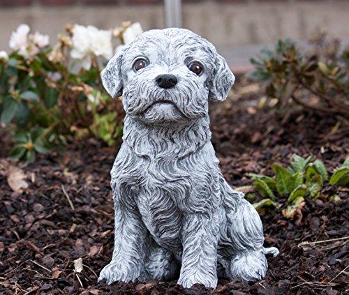 Steinfigur Malteser Hund, Frost- und wetterfest bis -30°C, massiver Steinguss (Malteser Hund Figur)