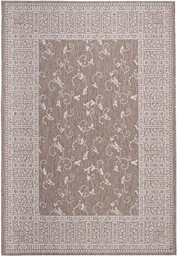 Tapiso FLOORLUX Teppich Flachgewebe Strapazierfähig Sisal Optik Dunkel Beige Creme Floral Blumen Muster Bordüre Designer Küche 140 x 200 cm