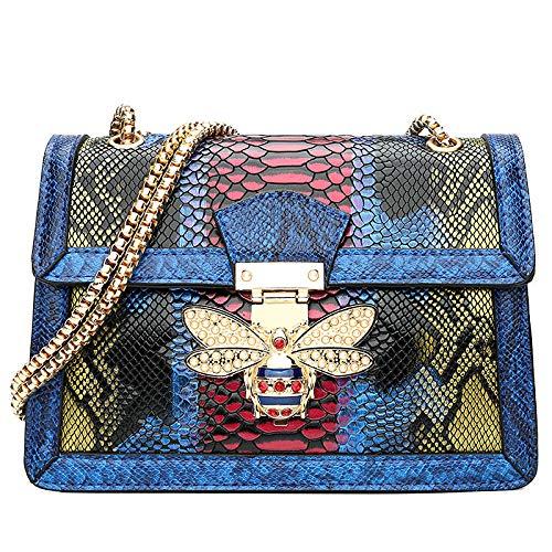 GEZHF Modetrendschlange Der Kleinen Biene Geprägtes Modeblau Frauen Cross Body Bag Geldbörse Handtasche Schultertasche Damen Umhängetasche Telefon Tasche