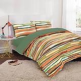 Nimsay Home Wave Stripe Printed Reversible Cotton Blend Rich Duvet Cover & Pillowcase Set (King, Green)