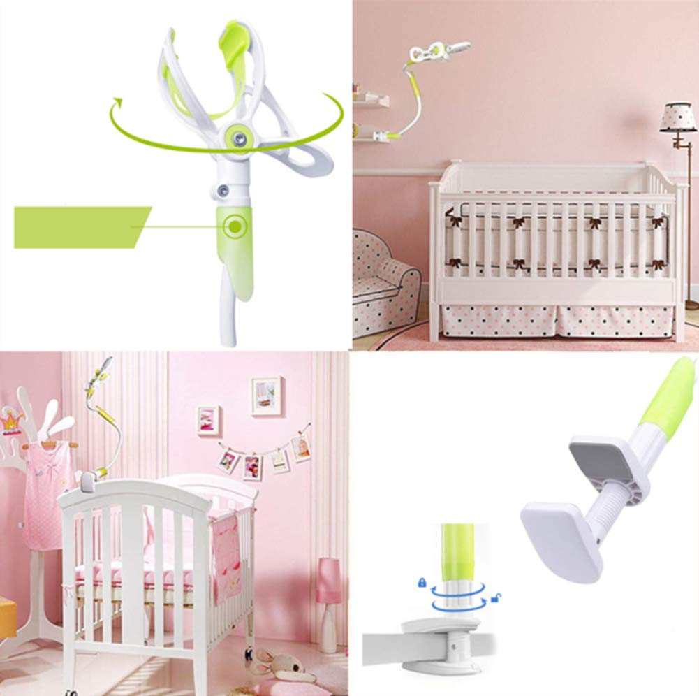 DQTYE Universal Baby Monitor Holder with Straps Infant Video Shelf with Flexible Long Arm Hose Camera Phone Mount 360 Degree Rotation for Bedroom Office Baby Cot + Cable Clip - Green DQTYE 👶 Get the Best View of Your Baby - This baby monitor shelf gives you the perfect view of your baby, no longer limited to the baby camera on the edge of the crib. This baby monitor crib mount can be mounted on a variety of furniture or Window sills, giving you a complete picture of your sleeping baby. You can reposition and bend it to find the best view to see your baby, not to come back and re-adjust the monitor, saving a lot of valuable time. 👶 Universal Device for Most Baby Monitors on the Market - this baby camera stand is suitable for most baby cameras with a base/bracket width between 3.5 and 6.3 inches. We have tested several leading on the market baby monitor brand, don't worry about The size difference. To ensure product safety, do not use a baby monitor with a baby monitor that does not have a separate base/bracket. 👶 Satisfaction Guarantee - We test and improve our products constantly to provide you the absolute best quality at the most excellent every day price possible. If any concerns, send us an e-mail and we will get to you in 24 HOURS. We will give You a 100% refund if you are not completely satisfied with purchase! 5